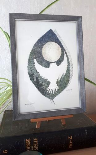 """""""oiseau de nuit"""" encre de chine et crayon couleur sur papier"""